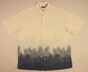 Centro Button Down Dress Shirt XL extra Large White Blue Floral Travel Vacation
