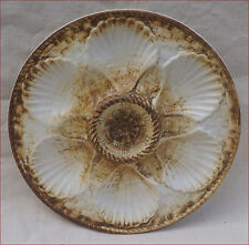 French Oyster Plate Faience Brown White Basketweave Longchamp 1970