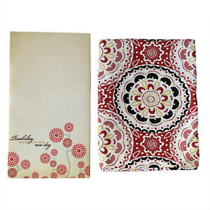 Threshold Fabric Shower Curtain Picture Art Red Tan Bathroom Modern Floral Decor