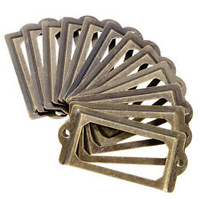 12Pcs Brass Metal Label Pull Frame Handle File Name Card Holder For Box Cabinet