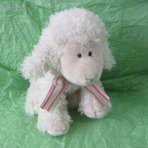 Russ Plush Stuffed Curly Lamb Baby Faith White Pink Face Ribbon God Made Me