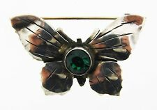 Whimsical Hobe Sterling Silver & Green Stone Butterfly Brooch!