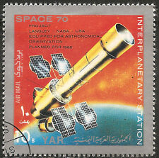 """Yemen Stamp - Scott #278h/A79b 10b Silver & Multicolored """"Space"""" NG CTO/LH 1970"""