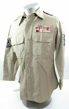 Vintage Usaf Air Force Post Wwii/Korea Msgt Khaki Shirt w/Embroidered Ribbons Sc