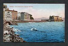 C1910 Illustrated View - Via Caracciolo e Castel dell'Ovo, Naples, Italy.