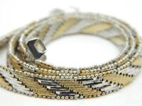 """TWO TONE STERLING SILVER RICCIO LINK NECKLACE 16"""" -6.8mm-31.6 GRAMS"""