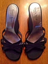 TARYN ROSE Black Satin Slides, Open Toe, 2.5 Inch Heel, Size 5.5B, Ex. Condition