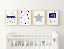 Set of 4 Little Man Cave Boys Room Kids Nursery Wall Art Prints Navy Blue & Grey 7x5