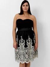 Kleid Gr.44 Abendkleid Bandeaukleid schulterfrei festlich schwarz Damen knielang