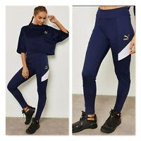 PUMA | Womens Retro Rib Navy & white Leggings Pants  [ Size S or AU 10 / US 6  ]