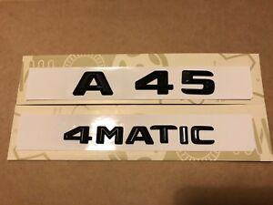 Mercedes A45 4MATIC Badge Emblem Decals New Style Gloss Black