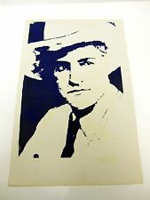 """vintage Blue  silk-screen Poster  Gangster with Hat   11"""" x 17"""""""