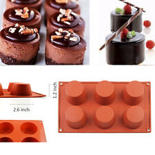 DIY 6 Round Soap Mould Cake Chocolate Mold Cookie Silicone Baking Craft Pan Tray