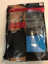 PUMA 3 Pack Men's Premium Boxer Brief Size Medium black/gray/sky blue