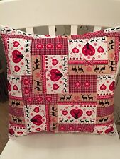 ❤️Christmas Rose & Hubble Red Patchwork Scandinavian Shabby Chic Cushion Cover❤️