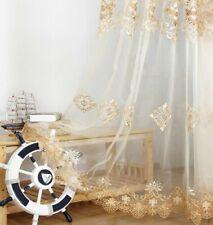 European Embroidery Sheer Curtain Beige Organza Home Textile Rod Pocket 1 Piece