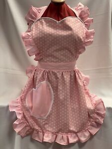 RETRO VINTAGE 50s STYLE FULL APRON with HEART SHAPED TOP & POCKET (VALENTINES)