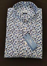 "Harmont & Blaine 3XL Chest 50"" Blue Print NARROW FIT Short Sleeve Shirt RRP £159"