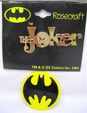 Vtg Nos Rosecraft 1964 Batman The Joker Gold Pin & Batman Logo Pin DC Comics