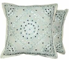 Indian Style Ethnic Indian Embroidery Mirror Work Throw Pillow Cushion Covers