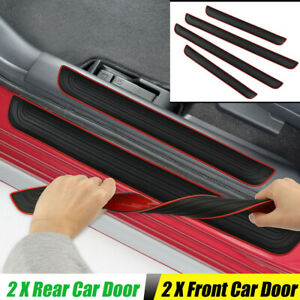 For Toyota Black Rubber Car Door Scuff Sill Cover Panel Step Protector Trim x4