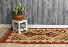 Jute with Wool Gabbeh Kilim Rust Grey 92x158cm Quality Hand Made Reversible rug