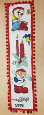 Vintage Retro Christmas Decor Wall Hanging 1976 Elves with Holly