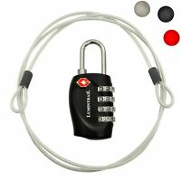 TSA Compatible Travel Luggage Lock 4 Dial Combination with 4 ft Steel Cable