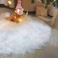Beslop 36 inch Faux Fur Christmas Tree Skirt Snowy White Tree Skirt for Christma