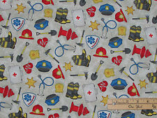 Help is on the Way Firemen Fire Truck Police Car Rescue by the 1/2 Yard   #82474