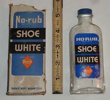 Rare Antique Wilbert No Rub Shoe White Shoe Polish Bottle w/ Box © 1936 New York