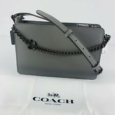Coach NWT Signature Chain Crossbody Heather Grey Refined Calf Leather