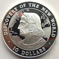 Bahamas 1990 Columbus 10 Dollars Silver Coin,Proof