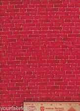 FQ Fabric Fat Quarter Red Bricks Wall christmas fire place VTG house quilt craft