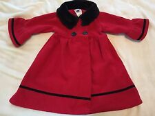Good Lad Red Double Breasted Faux Fur Lined Coat Black Trim Girls 2t