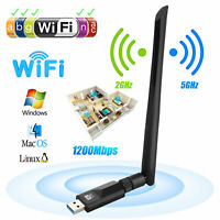 1200Mbps Dual Band 2.4G/5G Wireless USB 3.0 WiFi Network Adapter Card W/ Antenna