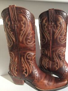 Leather Brown Ariat Women Western Cowboy Boots 9.0