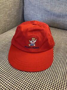 Polo Bear Ralph Lauren Red American Flag - Baseball Cap Hat - Size Infant