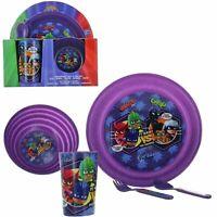 Kinder PJ Masks 5 Teile Plastik Frühstück Dinner Set Platte Schale Besteck Tasse