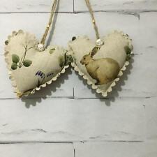 Pair of Rabbit /Woodland Fabric Hanging Hearts Shabby Chic Vintage Handmade Gift