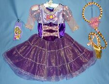 Disney Tangled Princess Rapunzel Costume Dress 7-8 Hair Piece braid;socks;LOT-4