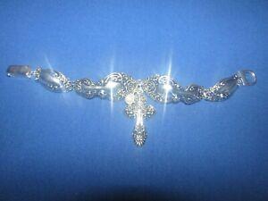 Artisan Silver Tone Floral Spoon Bracelet Magnetic Clasp Cross W/ Pearl