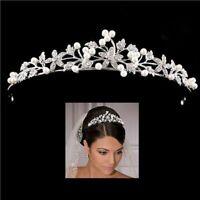 CA Crystal Imitation Pearl Wedding Bridal Tiara Crown Women Diadem Hair