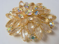 Vintage Juliana D & E Faceted Glass Open Work Large Rhinestone Pin Brooch