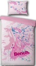 SINGLE BED DUVET COVER BENCH FACE GIRL PINK FEATHERS REVERSIBLE POLY COTTON