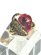 Rhinestone Leaf, Gold Tone Metal 6 Beautiful Pink Faceted Stone Ring White Pave