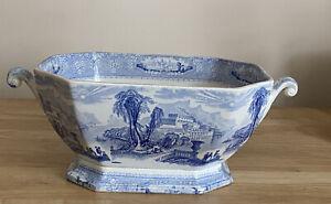 Antique Light Blue Transfer Ware Large Veggie/fruit Bowl ?
