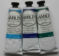 New listing 3 Gamblin Oil Paint's-2 Blues & Phthalo Green -37mL-Series 2