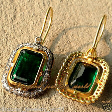 Estate Victorian 1.67cts Rose Cut Diamond Emerald Studded Silver Earring Jewelry