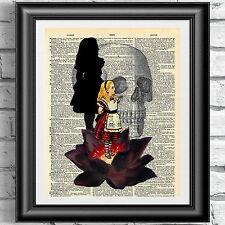 ART PRINT ON ANTIQUE BOOK PAGE Gothic Alice in Wonderland Black Lotus Steampunk